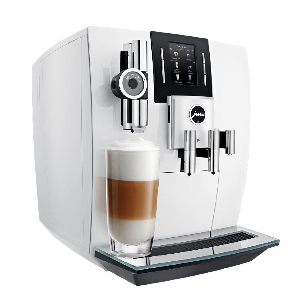 Espressor automat Jura J6, 15 bari, 2.1 l, 250g, rasnita AromaG3, 13 specialitati One Touch, afisaj, Piano White+ cadou cafea
