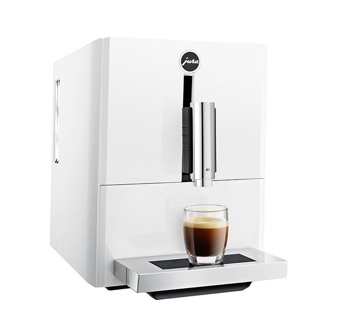 Espressor automat Jura A1, 15 bari, 1.1 l, 125g, rasnita AromaG3, Touch Panel, Alb+ cafea cadou