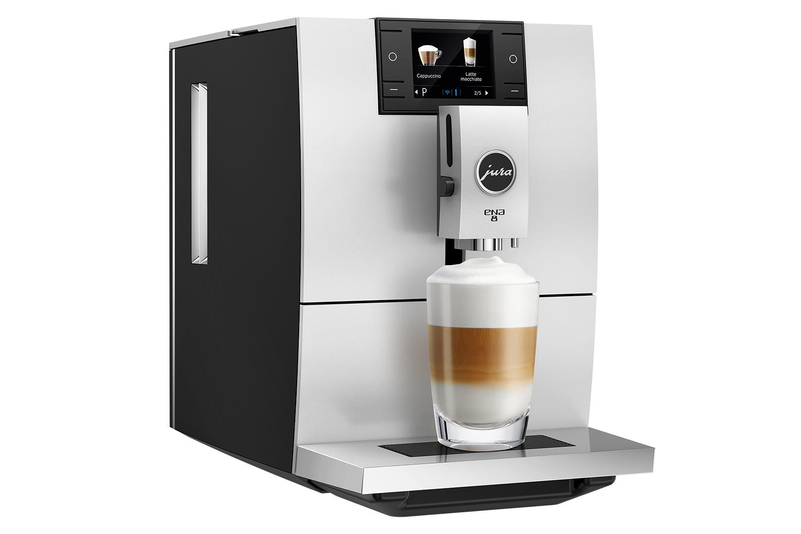 Espressor automat Jura ENA8, 15 bari, 1.1 l, 125g, rasnita AromaG3, 10 specialitati One Touch, afisaj color, Metropolitan Black+ cafea cadou
