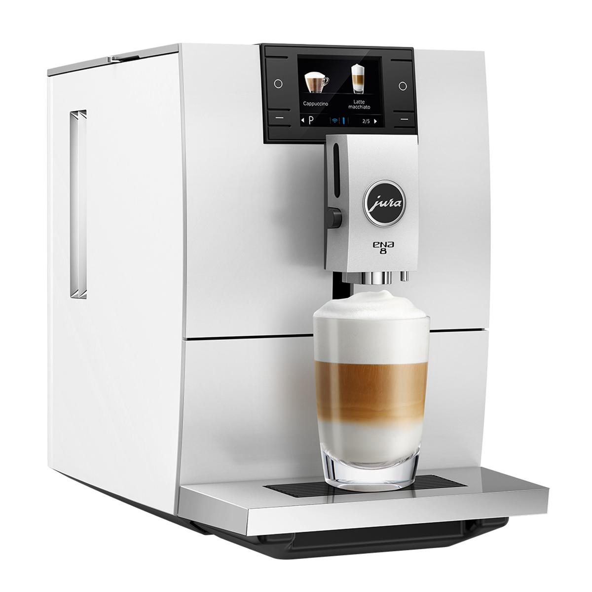 Espressor automat Jura ENA8, 15 bari, 1.1 l, 125g, rasnita AromaG3, 10 specialitati One Touch, afisaj color, Nordic White+ cafea cadou