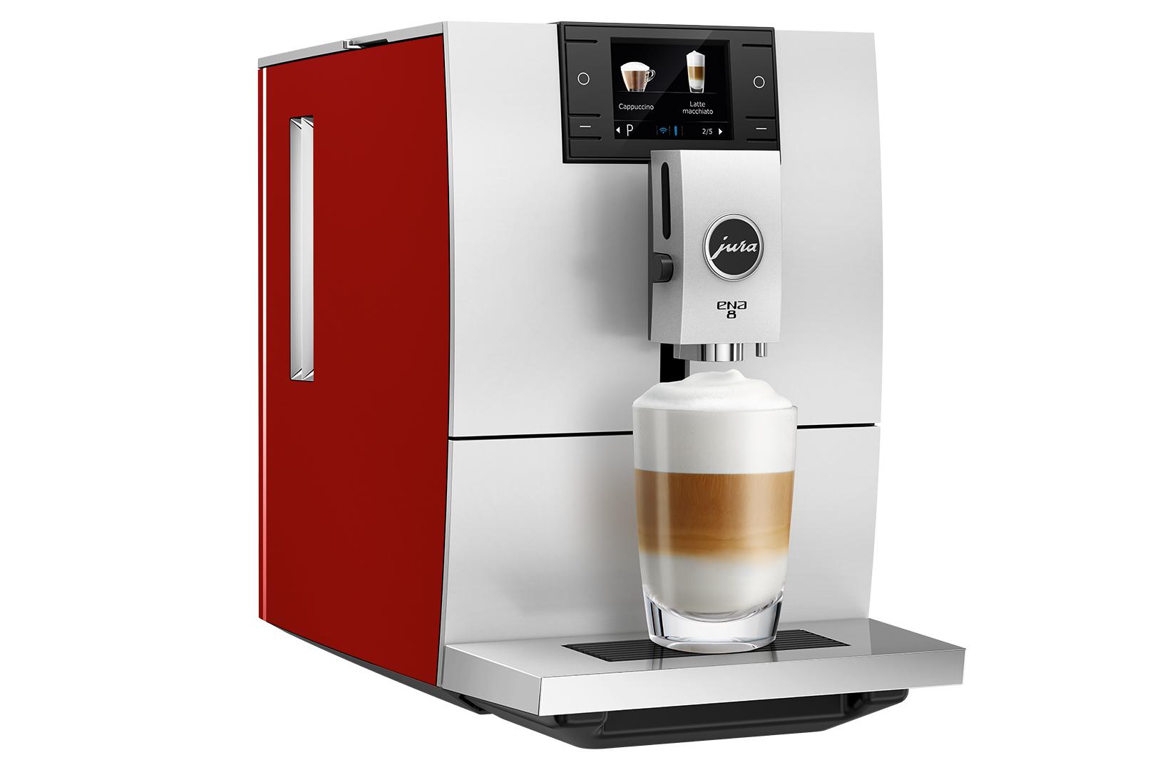 Espressor automat Jura ENA8, 15 bari, 1.1 l, 125g, rasnita AromaG3, 10 specialitati One Touch, afisaj color, Sunset Red+ cafea cadou