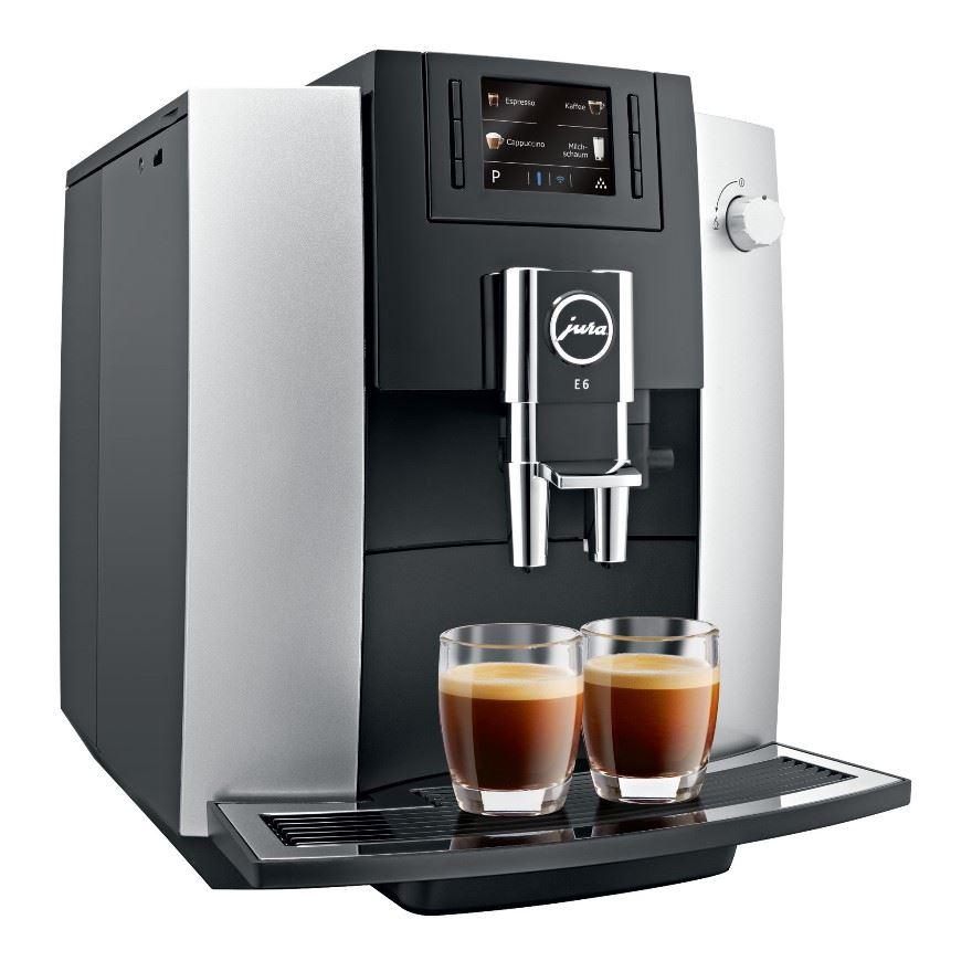 Espressor automat Jura E6, 15 bari, 1,9 l, 280g, rasnita AromaG3, afisaj TFT, Piano Black+ cadou cafea