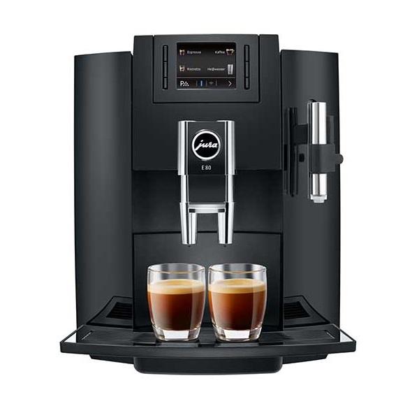 Espressor automat Jura E80, 15 bari, 1.9 l, 280g, rasnita AromaG3, 12 specialitati, afisaj, Platinum+ cadou cafea