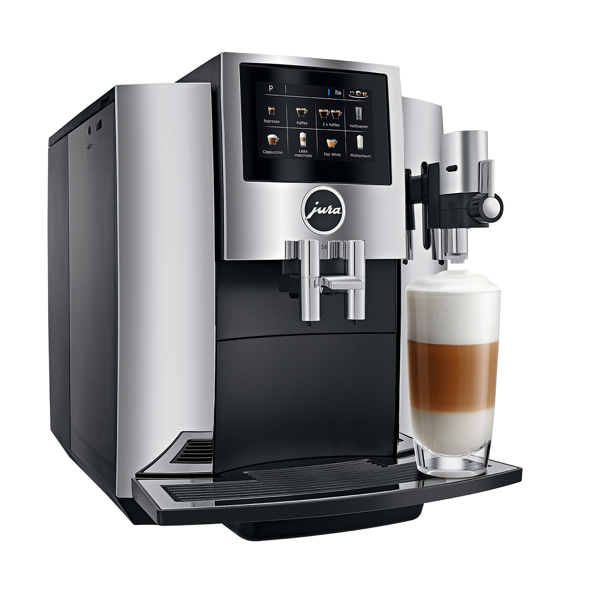 Espressor automat Jura S8, 15 bari, 1.9 l, 280g, rasnita AromaG3, 15 specialitati One Touch, touchscreen, Chrome+ cadou cafea