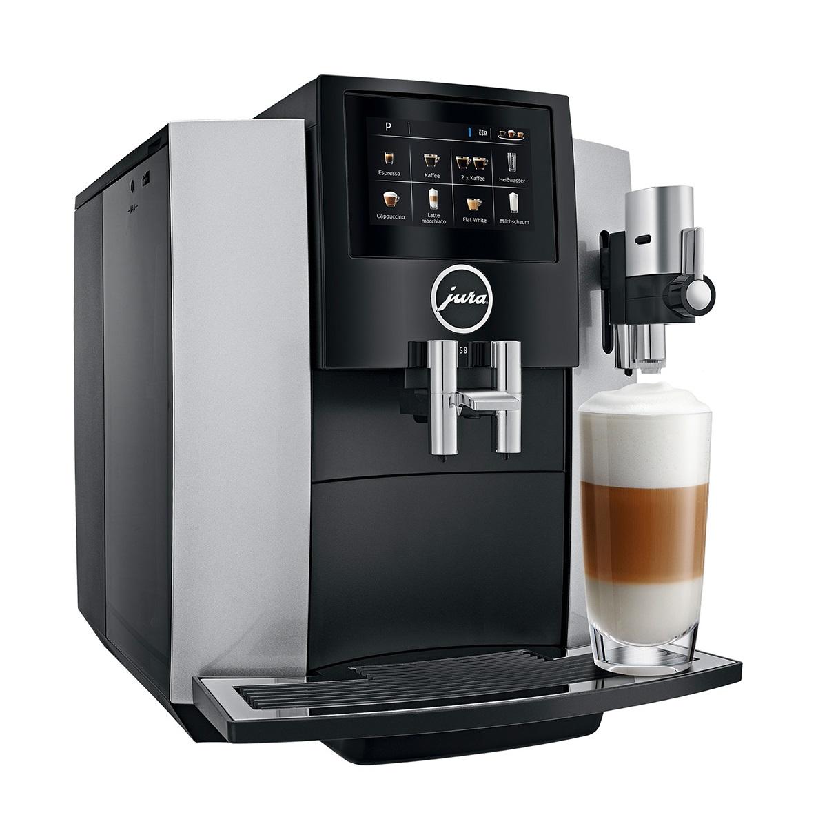 Espressor automat Jura S8, 15 bari, 1.9 l, 280g, rasnita AromaG3, 15 specialitati One Touch, touchscreen, Silver+ cadou cafea
