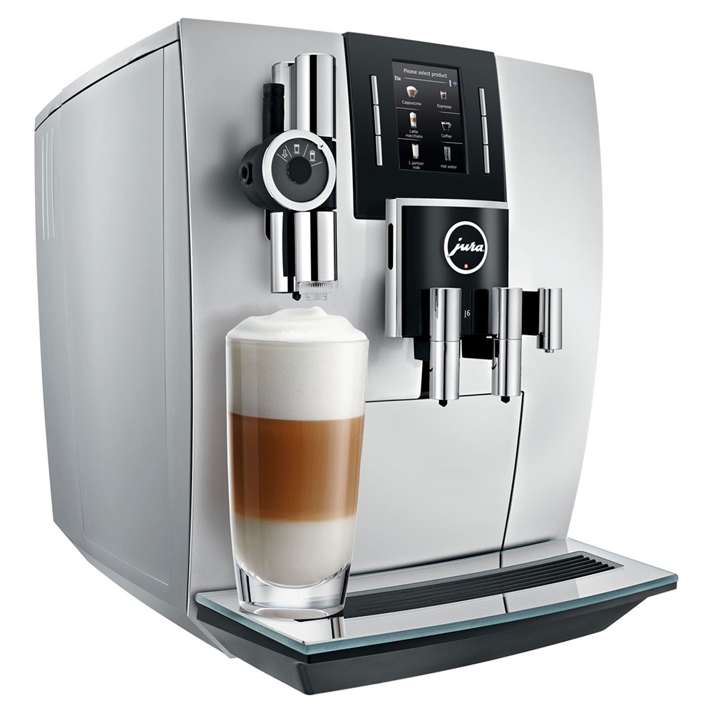 Espressor automat Jura J6, 15 bari, 2.1 l, 250g, rasnita AromaG3, 13 specialitati One Touch, afisaj, Briliant Silver+ cadou cafea