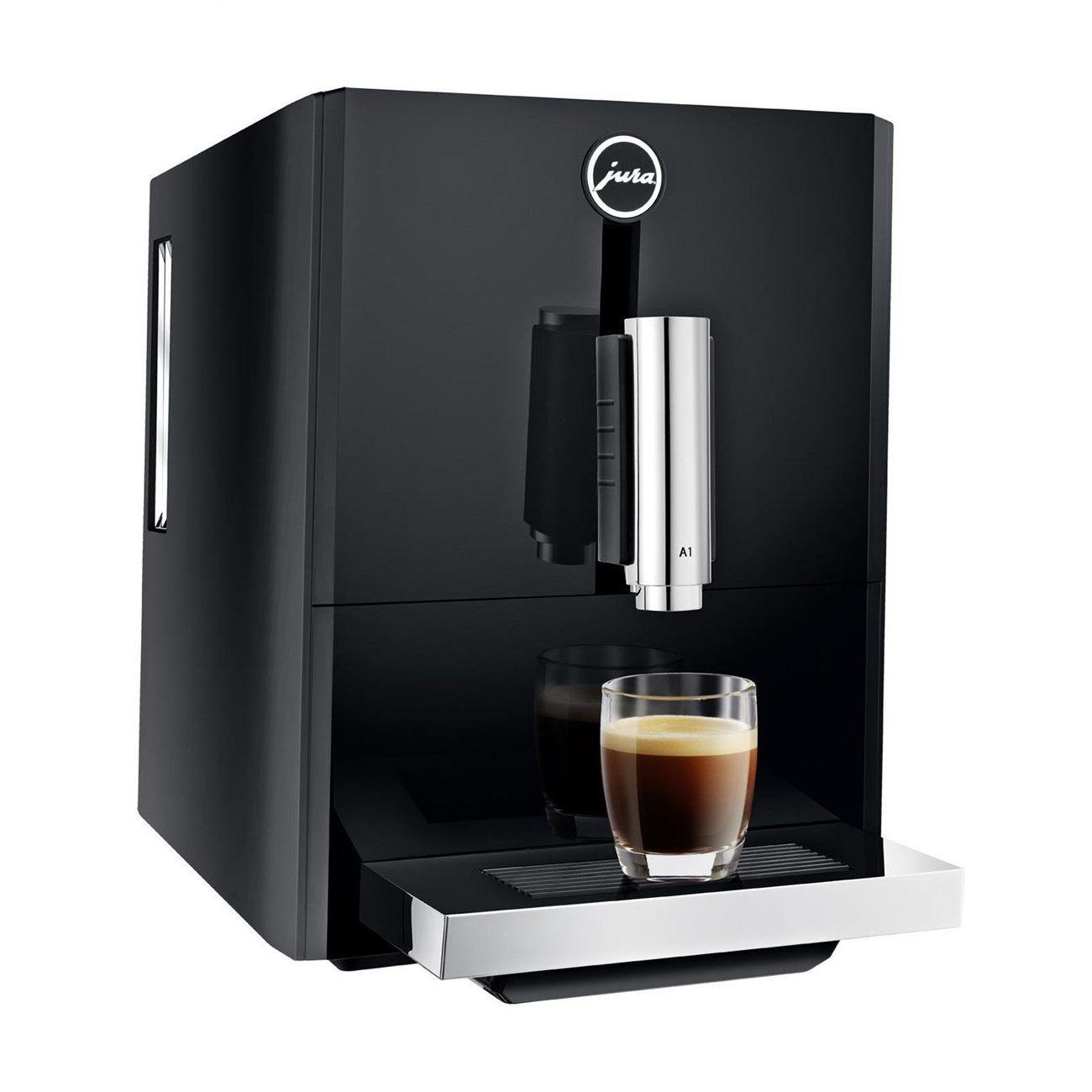 Espressor automat Jura A1, 15 bari, 1.1 l, 125g, rasnita AromaG3, Touch Panel, Negru+ cafea cadou