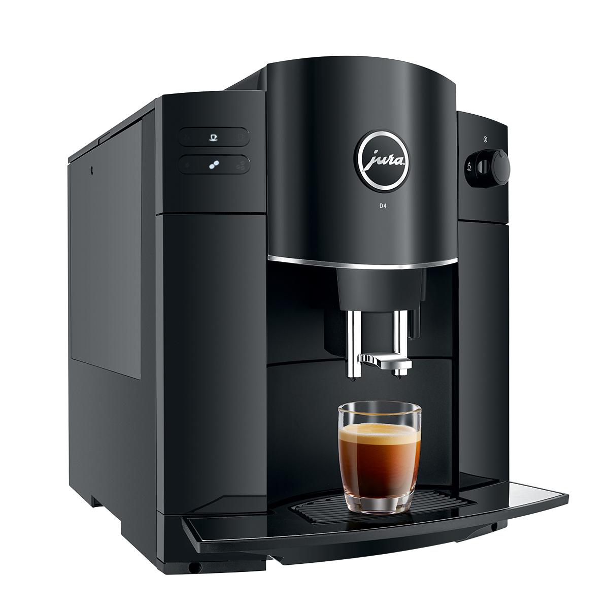 Espressor automat Jura D4, 15 bari, 1.9 l, 200g, rasnita AromaG2, afisaj cu simboluri, negru