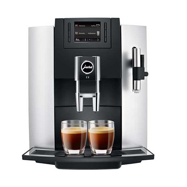 Espressor automat Jura E8, 15 bari, 1.9 l, 280g, 15 specialitati One Touch, rasnita AromaG3, afisaj, Platinum+ cadou cafea